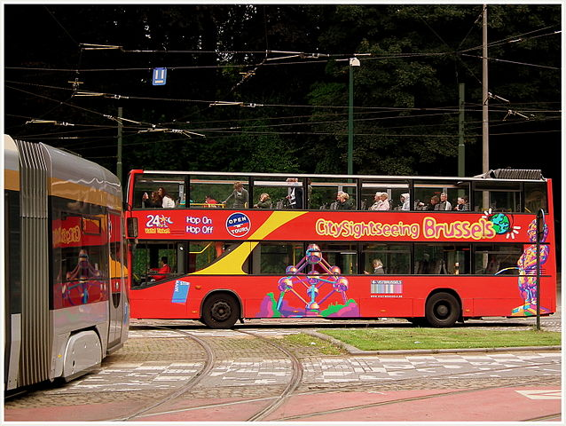 TRAM_NO7_AND_BRUSSELS_SIGHTSEEING_BUS_NEAR_HEYSEL_BRUSSELS_BELGIUM_JULY_2012_(7690468818)